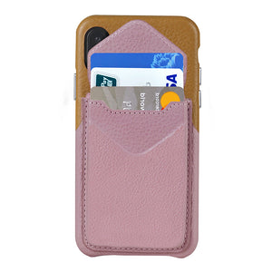 Cover & Go FX _ iPhone XS Max Italian Leather Case - Brown&Pink