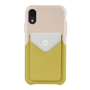 Cover & Go FX _ iPhone XR Italian Leather Case - Beige&Yellow
