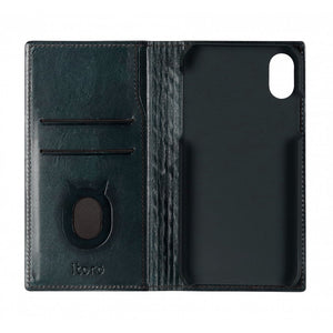 Emboss Leather Folio_iPhone XS Italian Leather Case - Midnight Green