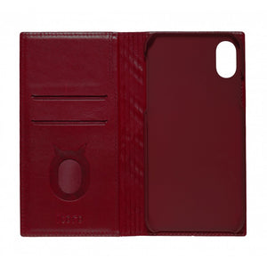Emboss Leather Folio_iPhone X Italian Leather Case - Merlot Red