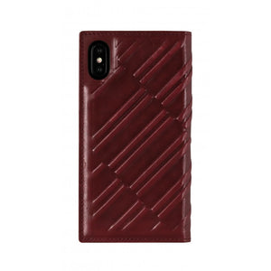 Emboss Leather Folio_iPhone XS Italian Leather Case - Merlot Red