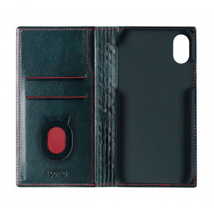 Emboss Leather Folio_iPhone X Italian Leather Case - Midnight Green(RED)