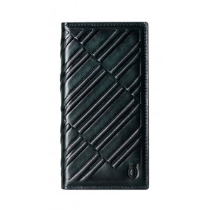 Emboss Leather Folio_iPhone X Italian Leather Case - Midnight Green