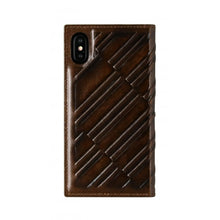 Load image into Gallery viewer, Emboss Leather Folio_iPhone X Italian Leather Case - Rosewood Brown