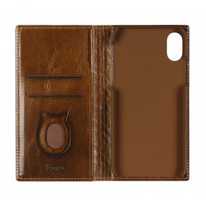 Emboss Leather Folio_iPhone X Italian Leather Case - Rosewood Brown