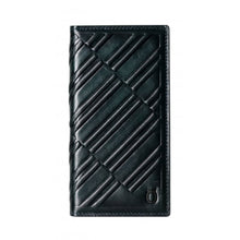 Load image into Gallery viewer, Emboss Leather Folio_iPhone XS Italian Leather Case - Midnight Green