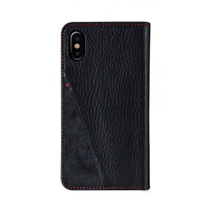 Fur x Leather_iPhone XS Italian Leather Case - Black(RED)