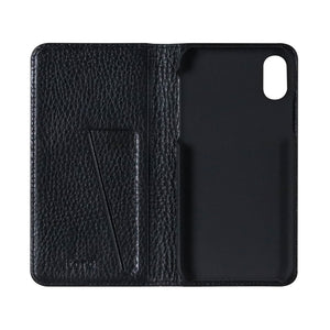 Fur x Leather_iPhone X Italian Leather Case - Leather Black
