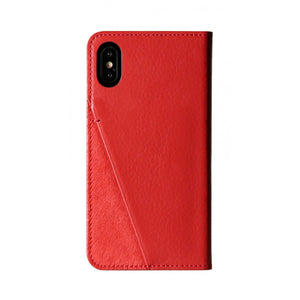 Fur x Leather_iPhone XS Italian Leather Case - Cranberry Red