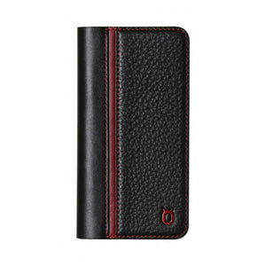 Folio n Go_iPhone X Italian Leather Case - Black(RED)