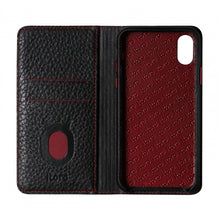 Load image into Gallery viewer, Folio n Go_iPhone XS Italian Leather Case - Black(RED)