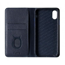 Load image into Gallery viewer, Folio n Go_iPhone XS Italian Leather Case - Sapphire Blue