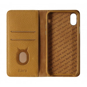 Folio n Go_iPhone X Italian Leather Case - Camel Brown