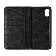 Load image into Gallery viewer, Folio n Go_iPhone X Italian Leather Case - Leather Black