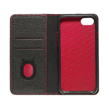 Load image into Gallery viewer, Folio n Go_iPhone 7 / 8 Italian Leather Case - Black(RED)