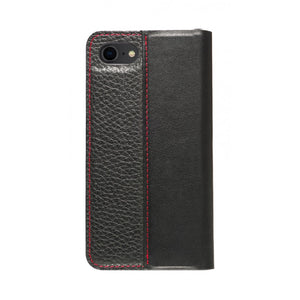 Folio n Go_iPhone 7 / 8 Italian Leather Case - Black(RED)