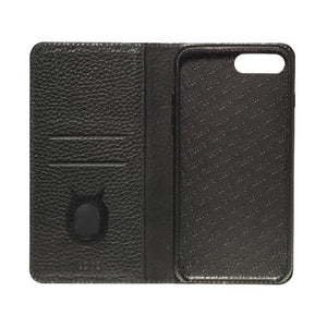 Folio n Go_iPhone 7 / 8 Plus Italian Leather Case - Leather Black