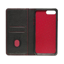 Load image into Gallery viewer, Folio n Go_iPhone 7 / 8 Plus Italian Leather Case - Black(RED)