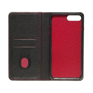 Folio n Go_iPhone 7 / 8 Plus Italian Leather Case - Black(RED)