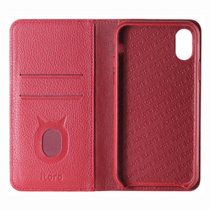 Folio n Go_iPhone XS Italian Leather Case - Burgundy Red