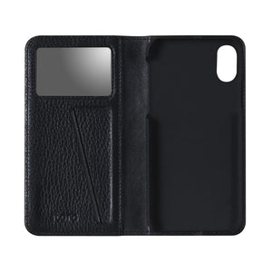 Fur x Leather EX_iPhone XS Italian Leather Case - Leather Black