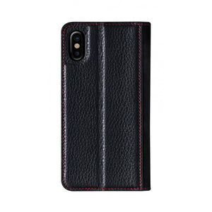 Fur x Leather EX_iPhone XS Italian Leather Case - Black(RED)