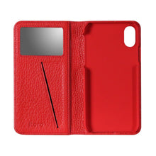 Load image into Gallery viewer, Fur x Leather EX_iPhone XS Italian Leather Case - Cranberry Red