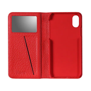 Fur x Leather EX_iPhone XS Italian Leather Case - Cranberry Red