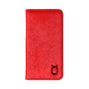 Fur x Leather EX_iPhone X Italian Leather Case - Cranberry Red