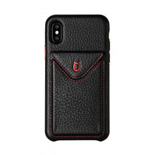 Load image into Gallery viewer, Cover n Go_iPhone XS Italian Leather Case - Black(RED)