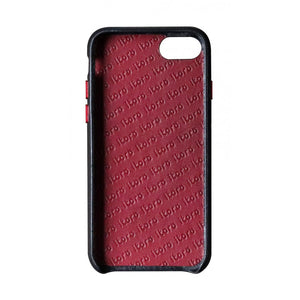 Cover n Go_ iPhone 7 / 8 Italian Leather Case - Black(RED)