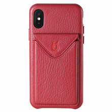 Load image into Gallery viewer, Cover n Go_iPhone XS Italian Leather Case - Burgundy Red