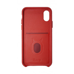 Gorgeous Ribbon Case_iPhone X Italian Leather Case - Fire Red