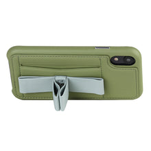 Load image into Gallery viewer, Gorgeous Ribbon Case_iPhone XS Italian Leather Case - Green&Gray