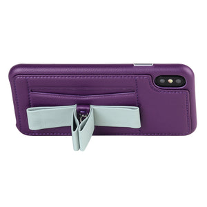 Gorgeous Ribbon Case_iPhone XS Italian Leather Case - Violet&Gray