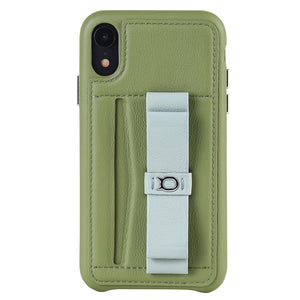 Gorgeous Ribbon Case_iPhone XS Italian Leather Case - Green&Gray