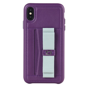 Gorgeous Ribbon Case_iPhone X Italian Leather Case - Violet&Gray