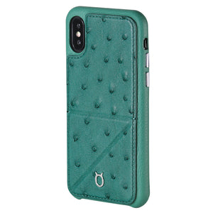 Ostrich Leather Case_ iPhone XR Italian Leather Case - iToro
