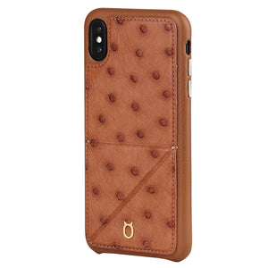 Ostrich Leather Case_ iPhone X Italian Leather Case - iToro