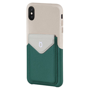 Cover & Go FX _ iPhone X Italian Leather Case - Beige&Green