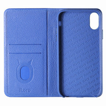 Load image into Gallery viewer, C. Edge Leather Folio_LUX_iPhone XS MAX Italian Leather Case - Folio Blue