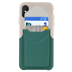 Cover & Go FX _ iPhone XS Italian Leather Case - Beige&Green