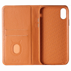 C. Edge Leather Folio_LUX_iPhone XS Italian Leather Case - Folio Brown
