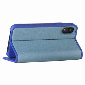 C. Edge Leather Folio_LUX_iPhone XS Italian Leather Case - Folio Blue