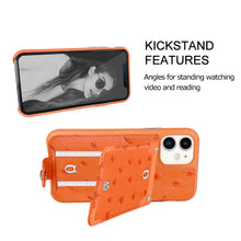 Load image into Gallery viewer, Ostrich detachable kickstand Wallets Leather Case iPhone 11 - Orange