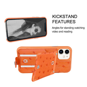 Ostrich detachable kickstand Wallets Leather Case iPhone 11 - Orange