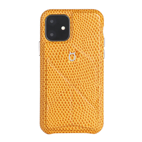 iPhone 11 Italian Lizard Leather Case with Multiple standing function - Orange