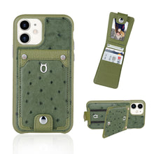 Load image into Gallery viewer, Ostrich detachable kickstand Wallets Leather Case iPhone 11 - Green