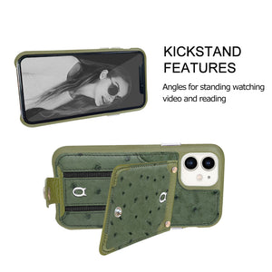 Ostrich detachable kickstand Wallets Leather Case iPhone 11 - Green