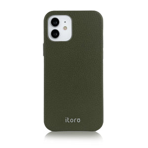 iPhone 12 | 12 Pro Leather Case_ITALY Leather - Army green